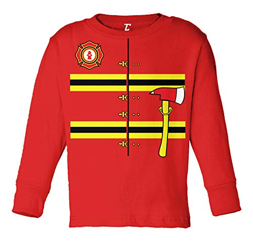 Firefighter Costume - Hero Fireman Long Sleeve Toddler Cotton Jersey Shirt (Red, 4T)