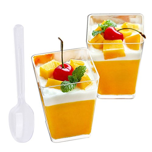 Tosnail 100 Pack 5 Oz Tall Square Clear Plastic Dessert Tumbler Cups with 100 Plastic Spoons - Great for Event and Party ()