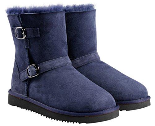 Kirkland Signature Kids Shearling Buckle Boot-Navy 2 (Girls Blue Boots)