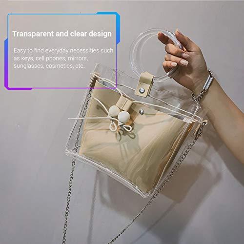 Gris Sac Mallalah pour Messenger Mode Femmes Kaki à Sac de Transparent Corde de Épaule Pompage Mère Cabas Fille Main Sac qwCTFU1En
