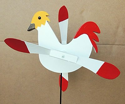 Whirlybird White Rooster Lawn Decoration (Amish Rooster)