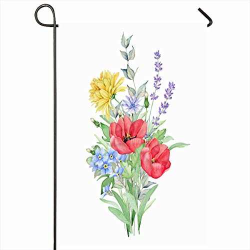 Ahawoso Outdoor Garden Flag 12x18 Inches Spring Violet Blue Wreath Watercolor Floral Bouquet Branch Meadow Flowers Grass Nature Purple Aster Seasonal Double Sides Home Decorative House Yard Sign