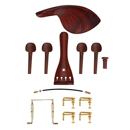 Bois 4/4 Raccords de Violon, Cordier fait à la main, Épingle d'extrémité, 4 Tuners, Mentonnière, 4 Cheville de réglage, Vis, Gut de queue