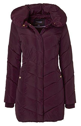 Sportoli Womens Winter Fleece Lined Chevron Quilted Puffer Jacket Coat with Hood - Merlot (Size Medium)