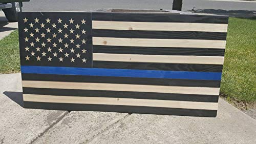 (weewen Thin Blue Line Wood Flag Hand Printed Printed Police Officer Natural Rustic Wooden Reclaimed Academy Retirement Graduation Gift Fathers Day Home Decor Wall Art Plaque )