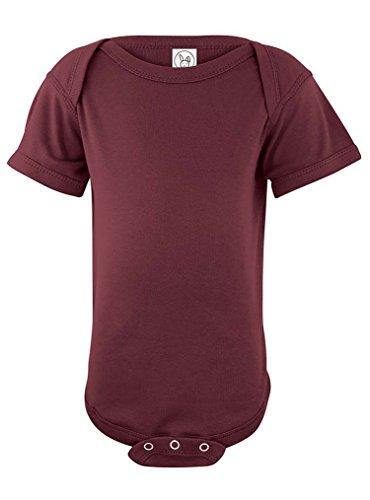 Rabbit Skins 100% Cotton Infant Baby Rib Bodysuit [Size 6 Months] Maroon Short Sleeve Onesie
