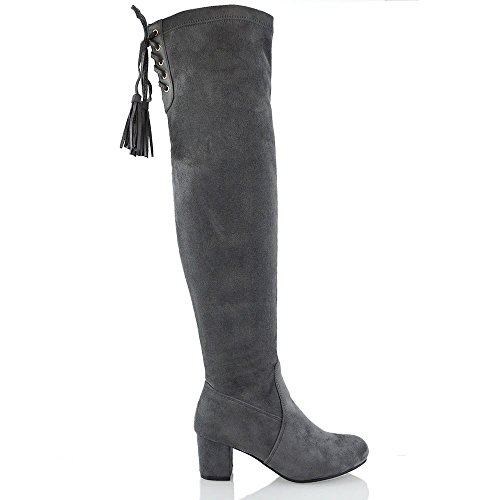 Heel Lace Womens Ladies up Long ESSEX Shoes GLAM Block Suede Faux Grey Leg The Over New Knee Stretch High qw1H7xP