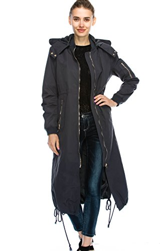 JEZEEL Women's Zipper Pocket Detail Hooded Long Waterproof Jacket. (DH419) (M, Charcoal) ()