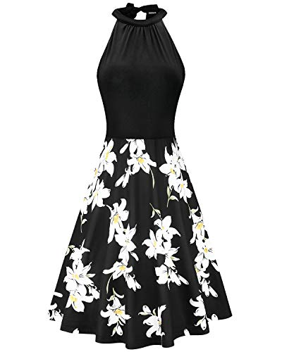 OUGES Women's Stand Collar Off Shoulder Sleeveless Cotton Casual Dress(Floral01,XL)