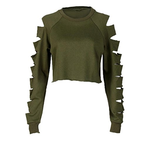 Blouses,Toraway Wome Hollow Hole Long Sleeve Pullover Sweatshirt Crop Top Shirt (Large, Army (Military Crop)