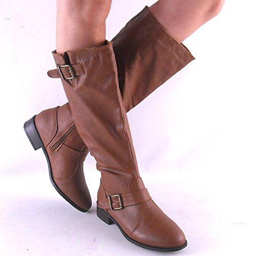 Asiana by Bamboo Womens Chestnut Brown Knee High Heel Adjustable Calf Riding Boots Size 6