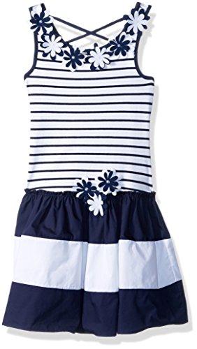 Kate Mack Big Girls' Daisy Crew Sleeveless Dress, Navy/White, 12 - Kate Mack Daisy