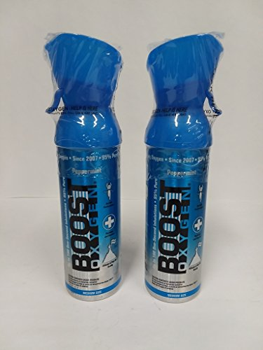 Boost Oxygen Peppermint Flavored Oxygen in a Can Medium Size 5 Liters (2 Pack)