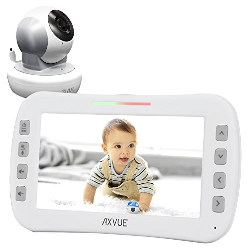 """Axvue E650 Video Baby Monitor with 5.0"""" LCD Screen and Pan Tilt Camera, Night Vision, Temperature Detection, Upto 800' and 8 Hours, Two Way Talk, 360/120 Degree for Pan/Tilt"""