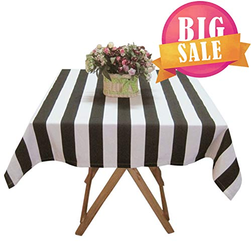 USTIDE Black and White Striped Tablcloth Cotton Canvas Tablecloth Black and White Tablecloth for Dining Room 55''x70'' -
