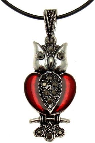 Acosta - con esmalte rojo y hematita estilo Vintage piedras de Pirita de búho - de cristal de collar con colgante en forma - caja de regalo