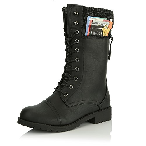 DailyShoes Women's Combat Style up Ankle Bootie Quilted Military Knit Credit Card Knife Money Wallet Pocket Boots