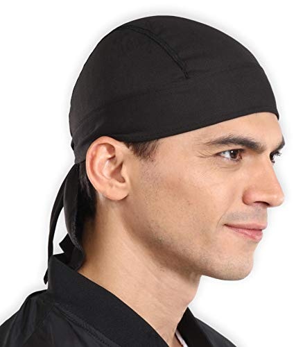 - Sweat Wicking Cooling Helmet Liner - Do Rag Skull Cap Beanie for Men & Women. Pirate Hat Bandana & Head Wrap for Motorcycling, Running, Hiking, Cooking & Outdoor Activities. Stretchy & Breathable Mesh
