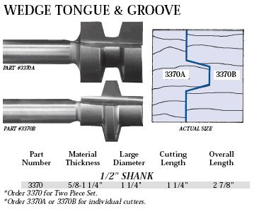 (Whiteside Router Bits 3370 Wedge Tongue and Groove Set with 1-1/4-Inch Large Diameter and 5/8-Inch to 1-1/4-Inch Cutting Length)