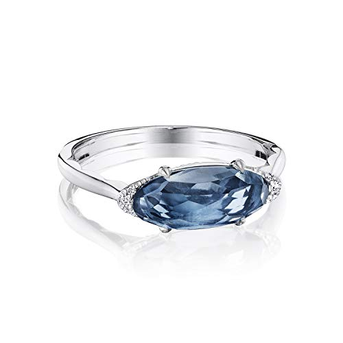 Tacori SR22333 Sterling Silver London Blue Topaz Solitaire Oval Cut Horizon Shine Ring, Size 6