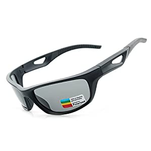 Sports Sunglasses, Polarized UV400, UNBREAKABLE, with Case & Cloth. For Jogging, Walking, Golf, Beach, Fishing, Baseball, Cycling & Driving. (Black, Grey)