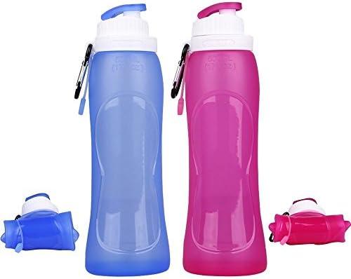 samoleus Botella de agua plegable 500 ml, silicona botellas Running bidones sin BPA para Sport bicicleta Camping y Outdoor, Set of 2 Pack (Rosa y Azul), 2 Pack - Rosa e Blu: