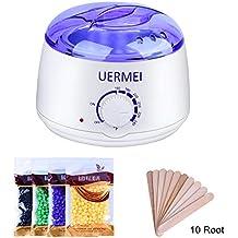 UERMEI Wax Warmer Hair Removal Waxing Kit,Wax Heater Home Waxing Women and Men DIY Depilatory Machine with 4 Flavors Hard Wax Beans+10 Wax Applicator Sticks for Face Arm Bikini Legs