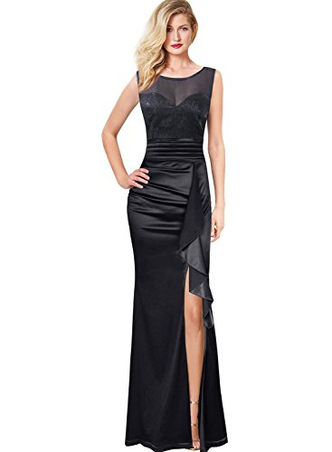 VFSHOW Womens Ruched Ruffles Dobby Fabric Slit Formal Evening Maxi Dress 665 BLK ()