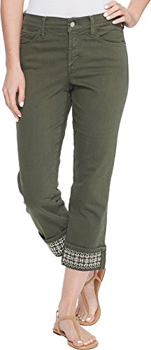 - NYDJ Women's Dayla Wide Cuff Capri Jeans, Topiary-Embroidered, 8