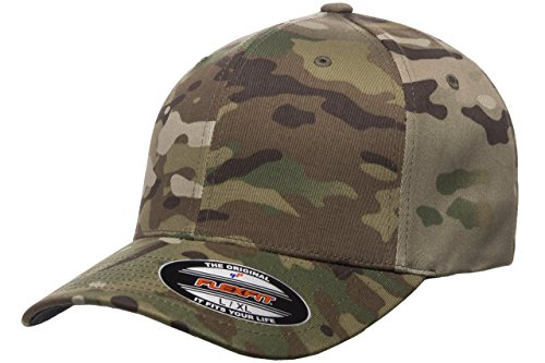 Flexfit Multicam Camo 6 Panel Baseball Cap Officially Licensed Multi-Cam Pattern (Large/X-Large, Multicam)