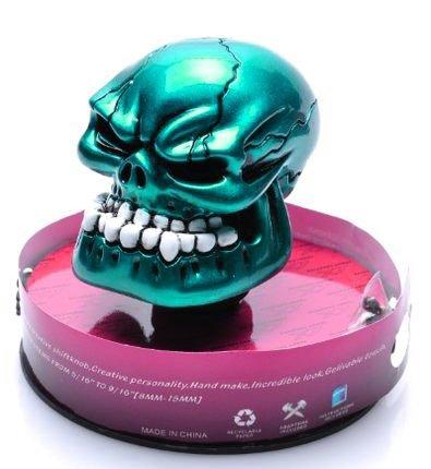 Bingohobby Car Gear Knob Universal Skeleton Skullhead 5 Speed 6 Speed Shift Knob Gear Shifter Stick Cover Green