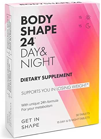 BODYSHAPE 24 Day & Night – 24H weight loss pills – Vegan metabolism booster for fast weight loss and fat loss - Weight loss for women by GET IN SHAPE