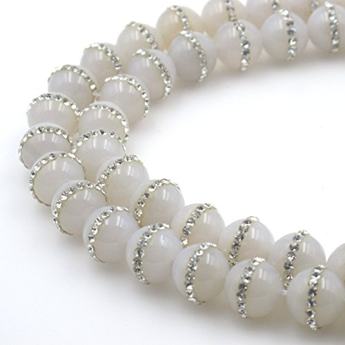 BRCbeads Gorgeous Natural White Agate Gemstone Round With Rhinestone Loose Beads 12mm Approxi 15 inch 30pcs 1 Strand per Bag for Jewelry Making