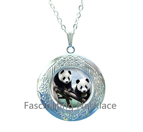 Fashion China Wildlife Panda Locket Pendants Cabochon Sliver Long Chain Statement Locket Necklace For Man Woman Fine Jewelry as Gifts,AE0125