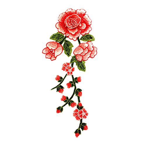 (Shineweb Embroidered Patches, Rose Floral Flower Embroidery Patch Badge DIY Sewing on Applique Dress Dark Pink)