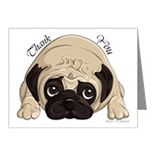 Pug Stationery - CafePress - Pug Thank You - Blank Note Cards (Pk of 10) Glossy