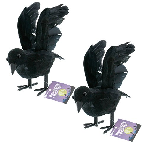 Halloween Haunters Realistic Black Flying Crows (Pack of (Cemetery Fence Halloween Prop)