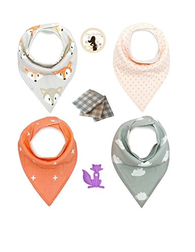 Knox the Fox Baby Drool Bandana Bib and Burp Cloth Gift Set with FREE Purple Fox Shaped Silicone Teething Necklace by Hug the Belly