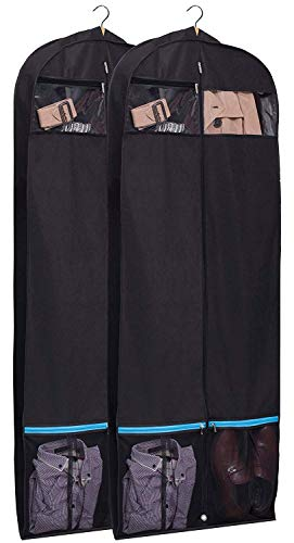 """KIMBORA 60"""" Black Garment Bag Breathable Travel Storage with 2 Large Mesh Pockets and Carry Handles for Suits, Dresses, Coats, Tuxedos Cover (Pack of 2) from KIMBORA"""
