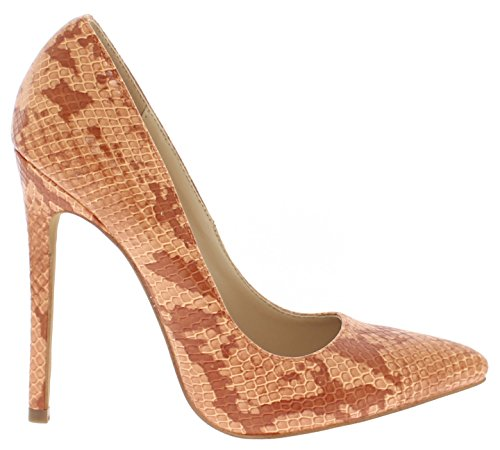 Shoe Republic Pointy Toe Faux Snakeskin Patent Pumps Brista (Orange 7) (Snake Stiletto)