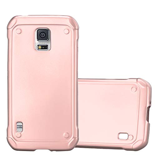 Cadorabo Case Works with Samsung Galaxy S5 Active in Metallic ROSÉ Gold - Shockproof and Scratch Resistant TPU Silicone Cover - Ultra Slim Protective Gel Shell Bumper Back Skin (Phone Case For Galaxy S5 Active)