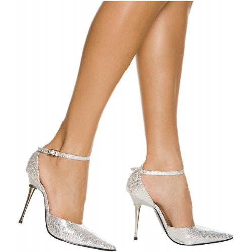 The Highest Heel Women's Slick Ankle-Strap Pump,Silver Glitter,9 M (The Highest Heels)