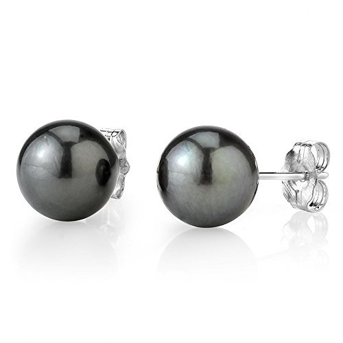 THE PEARL SOURCE 14K Gold 9-10mm Round Tahitian South Sea Cultured Pearl Stud Earrings for Women ()