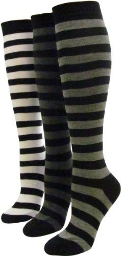 Women's 3-Pair Pack Fashion Wide Striped Around Knee High Sock, Dark Grey/Light Grey/White . Size:9-11 Ann Wide Leg