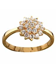 Women White Copper Crystal Gold Plated Ring Flower Shaped Jewelry Fashion New bague