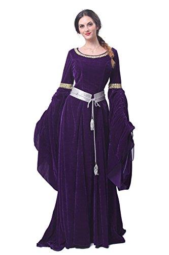 Langarm Königin Nuoqi Mittelalterliche Kleid ni Gc209e Maxi Kostüm Damen Kleid Party HwwIqEO