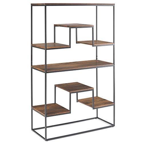 (Simpli Home AXCBRY-12 Byron Solid Mango Wood and Metal 61 inch x 39 inch Contemporary Industrial Bookshelf in Light Walnut Brown)