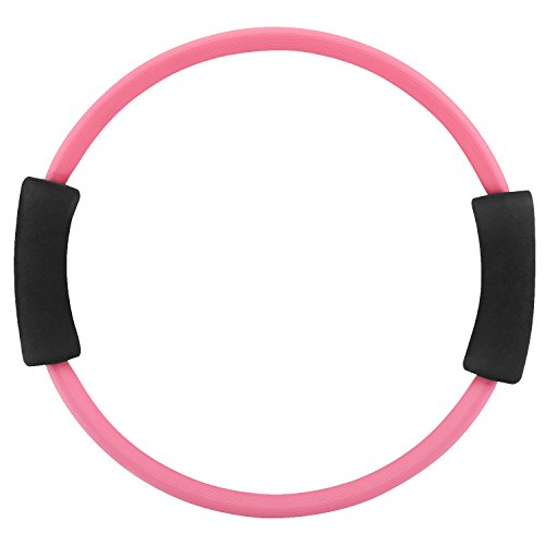 MoKo Pilates Ring, Premium Power Resistance Full Body Toning Fitness Rings Magic Circle Workout Rings Exercise Circle Fitness Pilates Equipment, Improving Blance, Strenth and Flexibility, Pink by MoKo