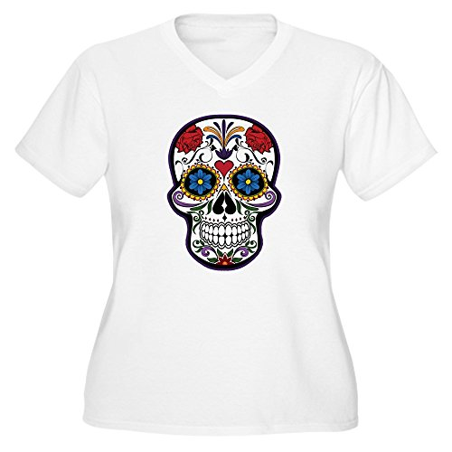 Truly Teague Women's Plus V-Neck T-Shirt Floral Sugar Skull Day of the Dead - Plus Size 1