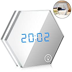EnGive Multi-function Mirror Alarm Clock Rechargeable Portable Smart Led Digital with Time/Alarm/Temperature Display Desk or Room Decoration Travel Alarm Clock (Silver)